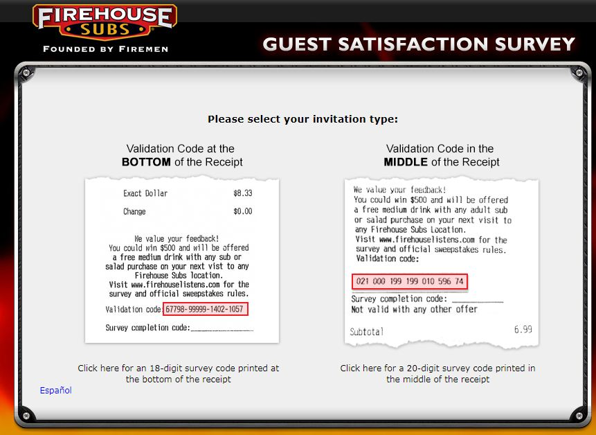 Firehouse Subs Guest Feedback Survey