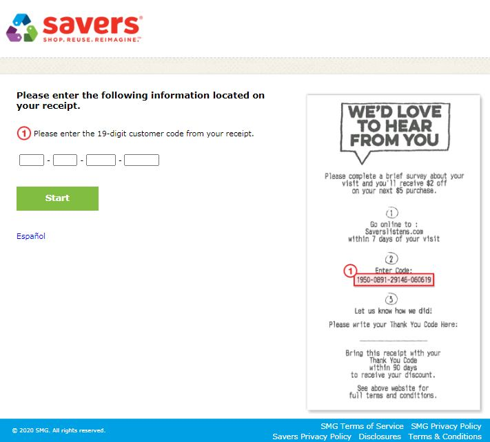 Savers Customer Feedback Survey
