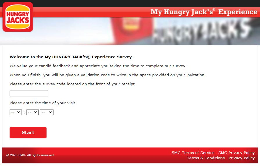 www.myhjexperience.com. Enter the survey code and date